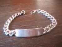 mächtiges Herren Armband Identitätsarmband für Namen Gravur 925er Silber 21 cm H