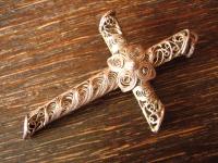prächtiger Jugendstil Kreuz Anhänger 800er Silber feinste Handarbeit Filigran