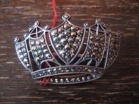 edle Krone Königskrone Art Deco Markasit Brosche 925er Silber TOP Zustand