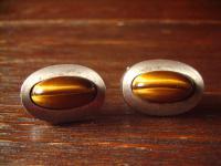 prächtige vintage Designer Manschettenknöpfe schimmerndes Tigerauge 835er Silber