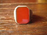 wuchtiger Art Deco Herrenring Siegelring Ring 835er Silber Carneol RG 61 19, 5 mm