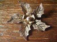 große Art Deco Markasit Brosche Weihnachtsstern Stern Blume Blüte 835er Silber