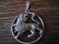 großer Art Deco Markasit Anhänger Sternzeichen Löwe Horoskop 925er Silber