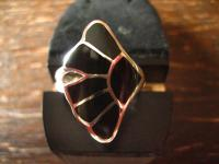 moderner sehr edler Gingko Blatt Ring 925er Silber Onyx Einlage schwarz neu RG 60