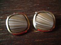 prächtige klassische Vintage Manschettenknöpfe gold dezente achat Streifen Beige