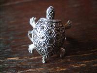 niedlicher Schildkröten Markasit Ring 925er Silber plastisch Schildkröte RG 60