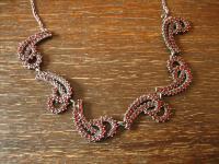 außergewöhnliches Jugendstil Granat Collier echte böhmische Granate 900er Silber