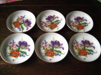 6 kleine Teller für Konfekt Untersetzer Tellerchen Porzellan Fürstenberg Blumen