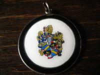 antiker 800er Silber Anhänger Wappen Adelswappen Emaille aufwändig emailliert
