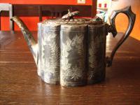prächtige antike Teekanne Silberkanne silber pl Sheffield wunderschön verziert
