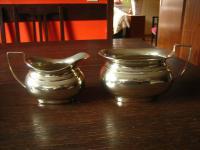 feines Milch & Zucker Set Art Deco Milchkännchen Zuckertopf silber pl England