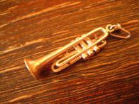 witziger Anhänger Trompete Musik Musiker Jazz 925er Silber vollplastisch