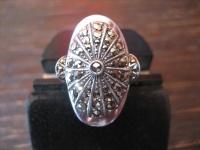 opulenter großer Art Deco Markasit Ring 835er Silber TOP Zustand RG 55 17, 3 mm