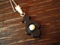 Rarität ! Biedermeier Anhänger eingeschliffenes Onyx Element echte Perle Silber