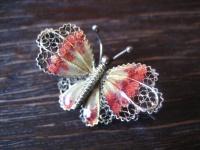 bezaubernde Jugendstil Schmetterling Falter Motte Brosche 800er Silber Emaille