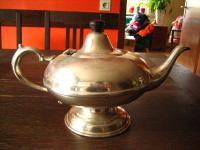 stilvolle Teekanne Silberkanne schöne nostalgische Aladin Form 1001 Nacht silber pl