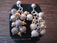 Vintage Ohrringe Hänger Chandeliers 925er Silber matt vergoldet Kugeln beweglich