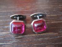 ausgefallene Jugendstil Manschettenknöpfe Rubinglas rubin rot 835er Silber