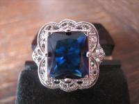 prächtiger Ring im Art Deco Stil 925er Silber saphir Stein Blau 19 mm RG 55 / 56