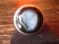 eleganter Designer Ring Onyx Druse 925er Silber schwarz rund Unikat alle Größen