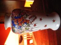 große Porzellan Vase traumhaft von Hand bemalt üppige Emailmalerei Unikat 25 cm
