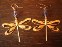 prächtige Ohrringe Hänger Chandeliers Libelle 925er Silber vergoldet Tansanit