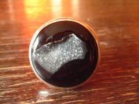 prächtiger Designer Statement Ring Onyx Druse 925er Silber schwarz rund Unikat
