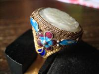 prächtiger vintage Ring Emaille Jade Schnitzerei Blumen China 925er Silber gold