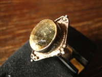 sehr schöner Art Deco Ring Citrin gelb 925er Silber Handarbeit Unikat RG 60 19 mm