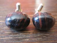 seltene vintage Manschettenknöpfe Edelstein schwarz braun - schimmernde Streifen