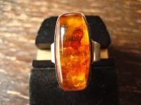 einmalig schöner Art Deco Bernstein Ring 835er Silber Fischland Amber RG 53