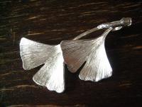 herrlicher Gingko Ginkgo Blatt Anhänger 2 Blätter 925er Silber weißgold optik