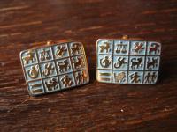 originell und ausgefallen Vintage Manschettenknöpfe 12 Sternzeichen Horoskop gold Emaille