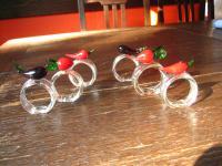 6 Stück bezaubernde Serviettenringe aus Glas mit Gemüse Paprika Aubergine Radi