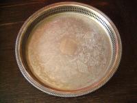 herrliches rundes Silbertablett Galerietablett Tablett silber pl England 33 cm