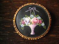 Traum Jugendstil Brosche Blumenkorb Emaille Miniaturmalerei Mattemail Email Rar!