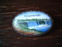 Souvenir Jugendstil Brosche Niagarafälle Emaille Niagara Falls Andenken