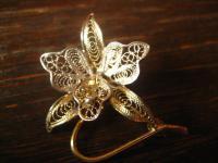 zarte antike Brosche Orchidee Cattleya Filigranarbeit 925er Silber vergoldet
