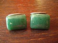 elegante Art Deco Manschettenknöpfe 830er Silber grün grüner Chrysopras