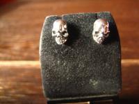 starke Totenkopf Ohrringe Stecker 925er Silber für Biker Gothic Ladies Piraten