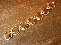 ausgefallenes Art Deco Vintage Designer gold Armband mit Holz Inlays
