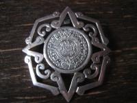prächtige große Brosche Anhänger Mayakalender Maya Azteken Kalender 925er Silber