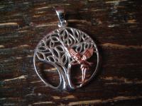 reizender Anhänger Baum mit Elfe Fee Fairy Elfish Tree 925er Silber et Nox neu