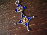 dekorativer Anhänger Kreuz des Südens 925er Silber Emaille blau gelb emailliert