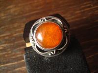 ausgefallener Bernstein Ring in tollem Design um 1920 800er Silber 16, 5 mm RG 52