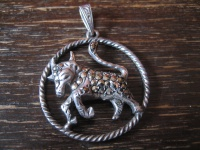 großer Art Deco Markasit Anhänger Sternzeichen Stier Horoskop 925er Silber
