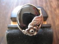 romantischer Vintage Ring Onyx Blume Blüte Blumenring 835er Silber ausgefallen