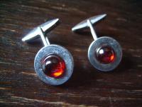 moderne elegante Manschettenknöpfe 925er Silber roter Stein doppeltes Gelenk