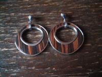 ausgefallene moderne Designer Ohrringe Hänger Ohrhänger silber Holz Einlage