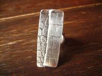 ultra geiler Statement Ring Schlangen Kroko Muster Designer Leonardi Arte silber